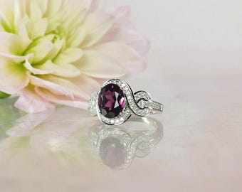 Rhodolite Garnet Ring,  Rhodolite Garnet, Garnet Halo Ring, Garnet Silver Ring, Garnet Sterling Ring, January Birthstone Ring,