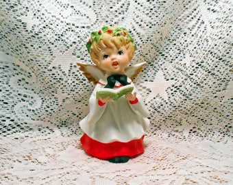 Vintage Bisque Christmas Angel with Songbook Beautiful Details