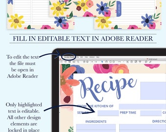 Recipe Binder Printable Kit, Personalized Family Recipe Binder, Recipe Pages, Recipe Organizer, Bridal Shower Recipe Page, Recipe Template