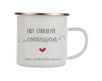 Hot Chocolate Enamel Mug, Chocolate Connoisseur, Marshmallow, Hot Chocolate Favor, Statement Mug, Cute Mug, Cocoa Mug, Hygge, Christmas