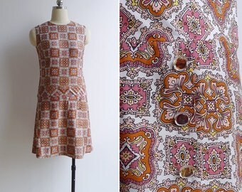 Vintage 70's 'Turkish Tile' Mod Dropwaist Dress XS or S