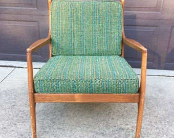 Midcentury Modern Lounge Chair, Mid Century Wood Chair with Cushions