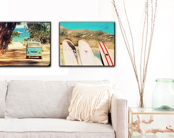 Surf Art Canvas Set Small, Beach Wall Art, Surf Art Canvas, VW Bus Surfboards, Retro Beach Decor, California Art, GIft Idea, Affordable Art