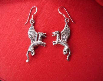 Hand Crafted Solid 3 D Sterling Silver Dragon Earrings