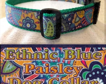 Ethnic Floral Blue Paisley Multi Accent Colors Designer Exclusive Dog Collar