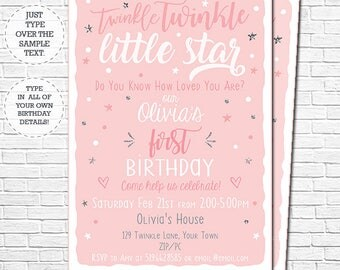 Twinkle Twinkle Little Star Birthday Invitation - Girl 1st Birthday Invitation - Instant Download & Personalize in Adobe Reader at home
