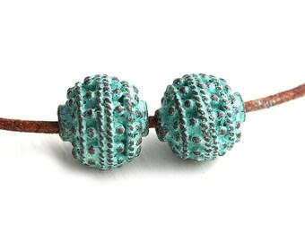 12mm Round Patina beads Green Verdigris patina Copper metal ball greek beads, Lead Free - 2Pc - F227