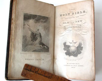 1827 Leather Bound Holy Bible, small antique book, published in Hartford, CT by Silas Andrus