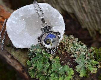Real Forget Me Not Pressed Flower Resin Botanical Boho Victorian Sterling Silver Pendant OOAK