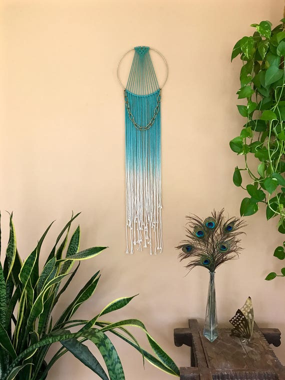 Brass Chain Macrame Dream Catcher - Hand Dyed Teal Rope