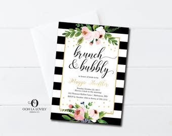 Black and white striped Bubbly and Brunch Bridal Shower Invitation, Bubbly Brunch Invitation, Bridal Shower Invitation, gold and black