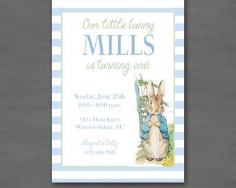 Peter Rabbit Birthday Party Invitation-Blue Green Bunny First Birthday Printable or Printed Invitations