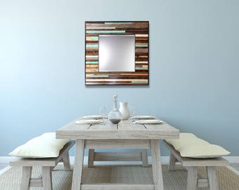 """Large Reclaimed Wood Mirror - """"Large Reclaimed Reflection""""- Wood Stripes - Square - Scrap wood art"""