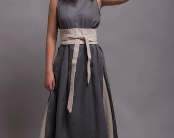 Linen Wrap Belt *MARU*, Obi Belt, Sash in natural linen color, Womens Wide Belt, Waist Tie Belt, Boho Belt, Bohemian Sash, Linen Accessories