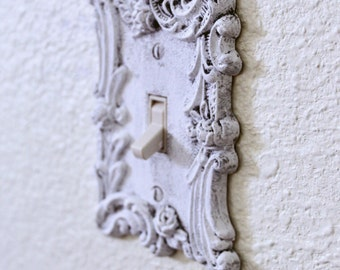 Vintage Switch Plate ~ Wall Switch Plate  Cover ~ Shabby Chic ~ Wall Decor ~ White Metal Single Switch Plate ~ American Tack & HardWare