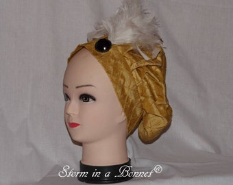 Regency Beret or Tam decorated with feathers and  broach