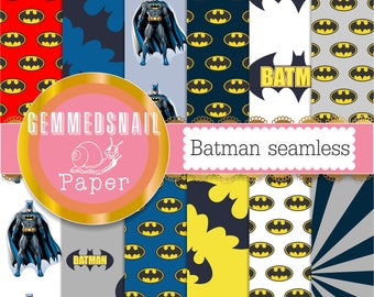 Batman digital paper.  Seamless and tileable batman papers, 12 papers altogether
