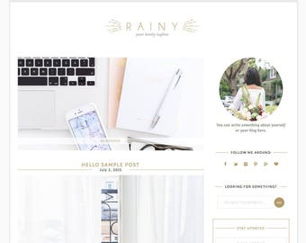 "Wordpress Theme Responsive Blog Design ""Rainy"" - Fashion and clean"