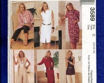 McCalls 3589 Shirt Dresses Duster Tunic Capri Pants Sizes 10..12..14 UNCUT