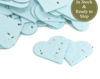 Light Blue Plantable Seed Paper Confetti Hearts - READY-TO-SHIP - Wedding Favors, Bridal Shower Favors, Baby Shower Favors, Party Favors