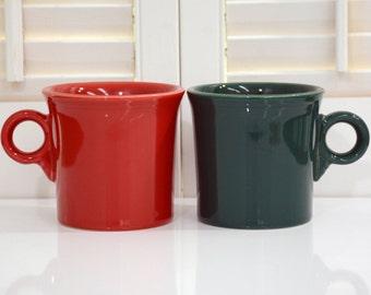 2 Fiestaware Coffee Mugs - Scarlet & Evergreen