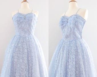 Vintage 1950s Blue Lace & Tulle Prom Dress // 50s Wedding Dress Rhinestone