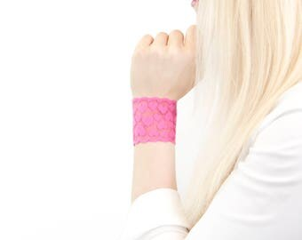 Valentines Bracelet, Heart Lace Wrist Cuff Bracelet, Heart Bracelet Pink Lace Bracelet Wrist Tattoo Cover Up, Nursing Bracelet, Wrist Cover