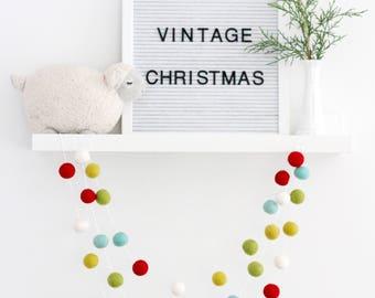 "Christmas Garland- ""Vintage Christmas"" Felt Ball Garland- Christmas Garland- Christmas mantle garland- Christmas tree trim- Red green"