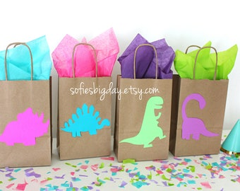 Dinosaur Party Favor Bags, Girl Dinosaur Party dinosaur birthday, Jurassic Park Party, dinosaur favor bag, girl dinosaur birthday, girl dino
