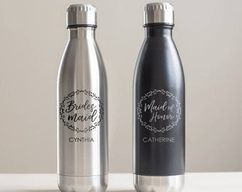 Custom Engraved Bridesmaid Stainless Steel Water Bottle: Personalized Bridesmaid Water Bottle. Engraved Wedding Water Bottle SHIPS FAST