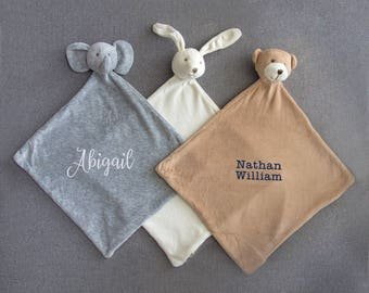 New baby gift etsy embroidered animal baby blankie personalized animal blankie personalized new baby gift elephant bunny negle Gallery