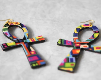 Large Fabric Covered Wood Ankh Earrings