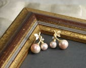Cherry Earrings ~ Blush Pink ~ Pearl Cherry Earrings ~ Cotton Pearl ~ Matte Gold Fruits Earrings ~ Bridesmaid Gift ~ Gift for Her