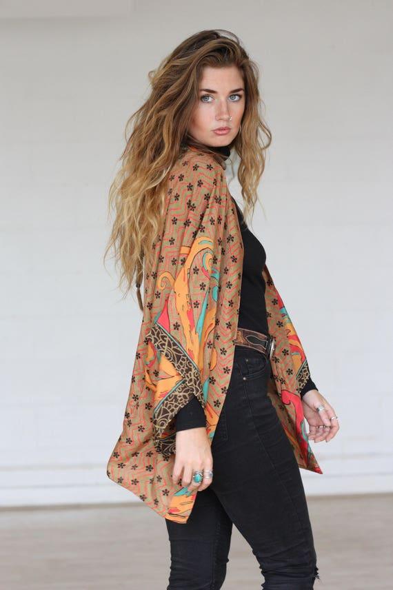 AZTEC CROP KIMONO - Silk Cardigan - Cover Up - Bohemian Kimono - Christmas - Party Outfit - Kaftan - Bespoke - 100% silk - Handmade - Gypsy