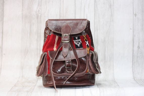 VINTAGE LEATHER RUCKSACK - Embroidered ethnic bag - Hippie rucksack - Boho Backpack - Aztec rucksack - Moroccan - Kilim Bag - Vintage bag