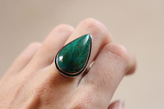 CHRYSOCOLLA BESPOKE RING - One size - Sterling silver ring - Turquoise style ring - Semi Precious - Antique style  - Valentines gift
