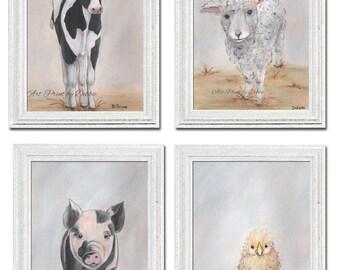 Farm Animal Prints Set Of 4, Barn Animal Art Nursery Art Children Art, Chick Cow Sheep Pig, Gray Farmhouse Decor, 6 Sizes, Gender Neutral