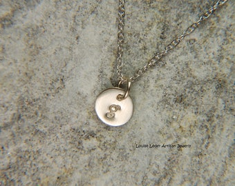 White Gold Necklace 6 mm 14K Gold Initial Necklace White Gold Disc Necklace White Gold Jewelry