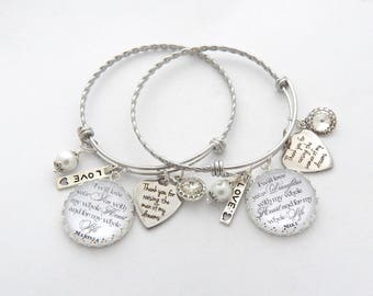 WEDDING GIFT SET, Wedding Bracelet Set, Personalized Mother of Groom Mother of the Bride Bracelet Set, Wedding Keepsake, Gifts and Momentos