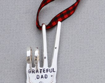 GRATEFUL DAD stamped Christmas Ornament // PEACE Sign with stars // Red and Black checkered Ribbon gift for guy dad