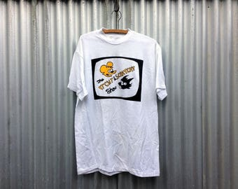 Itchy & Scratchy -- White t-shirt promoting a fictional ultraviolence cartoon show -- Large