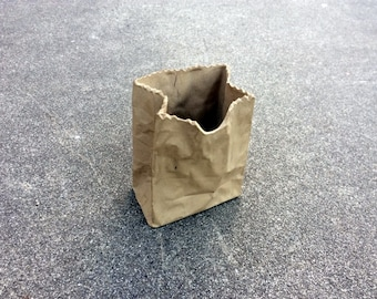 Brown Paper Bag -- Unusual sculpture replicating a humble lunch sack