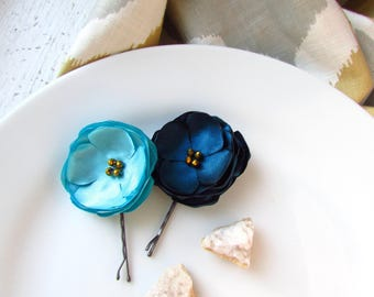 PICK 2 Malibu Light Blue & Dark Teal Wedding Hair Flowers Turquoise Gold Hairpieces for Bridesmaids, Satin Fabric Flower Hair Clip, Bobby