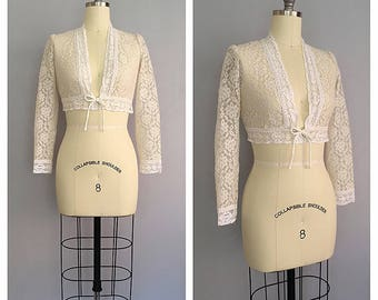 Gardenia jacket | vintage 1960s lace jacket | 60s cream cropped bolero | s