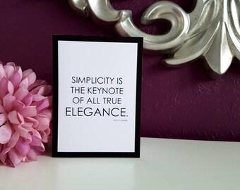 "Simplicity - Coco Chanel 5x7"" Blank Card"