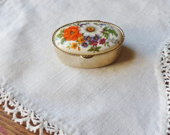 Floral Pill Box, Gold Pill Box with Porcelain Lid, Travel Pill Box