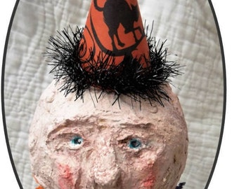 Paper mache Jack o Lantern Man in the Moon primitive OOAK Antique Style Halloween Decor