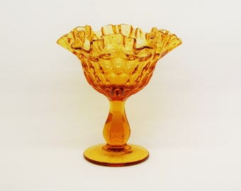 Vintage Fenton thumbprint compote, amber glass compote, Fenton candy dish