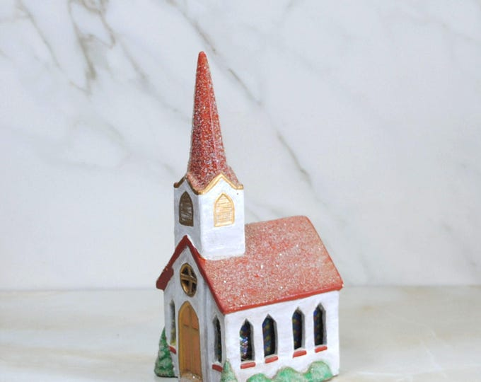 Vintage Christmas Diorama , Church With Steeple. Handcrafted and Hand Painted Church that can be used to make a Christmas Town!