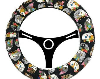 Steering Wheel Cover Lined 15 inch Diameter, Cat Steering Wheel Cover, Car Accessories, Matching Accessory Options